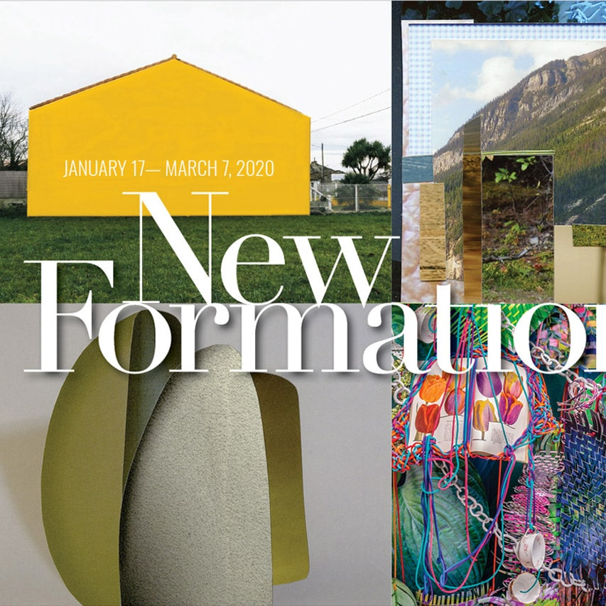 Show card for the new formations exhibition at the Catherine Edelman gallery